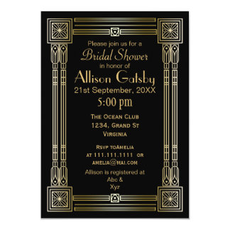 Black Gold Art Deco bridal shower Invitation