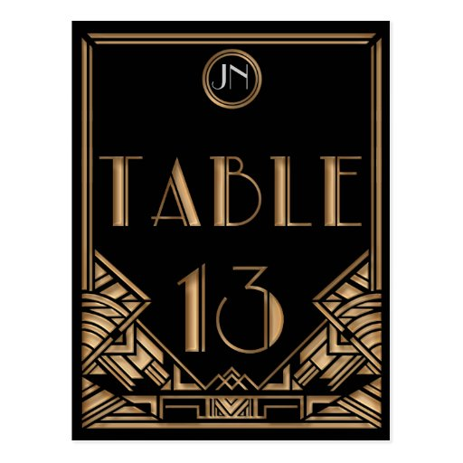 Black Gold Art Deco Gatsby Style Table Number 13 Postcards