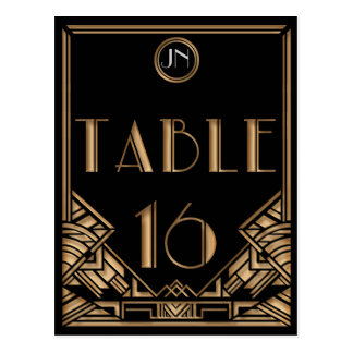 Black Gold Art Deco Gatsby Style Table Number 16 Postcard