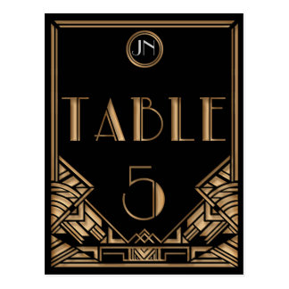 Black Gold Art Deco Gatsby Style Table Number 5 Postcard