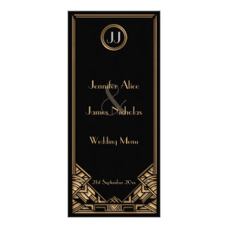 Black Gold Art Deco Gatsby Style Wedding Menu Custom Rack Card
