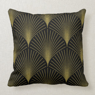Black & Gold Art-deco Geometric Pattern Cushion