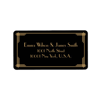 Black Gold Art Deco Great Gatsby Address Labels