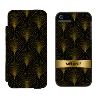 Black & Gold Art-Deco Pattern Incipio Watson™ iPhone 5 Wallet Case