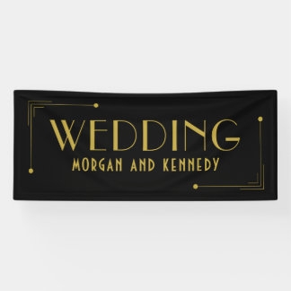 Black Gold Art Deco Style 1920s Wedding Banner