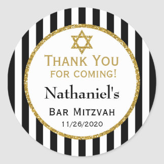Black Gold Bar Mitzvah Thank You Coming Favor Tags