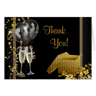 Black Gold Birthday Party Thank You Card