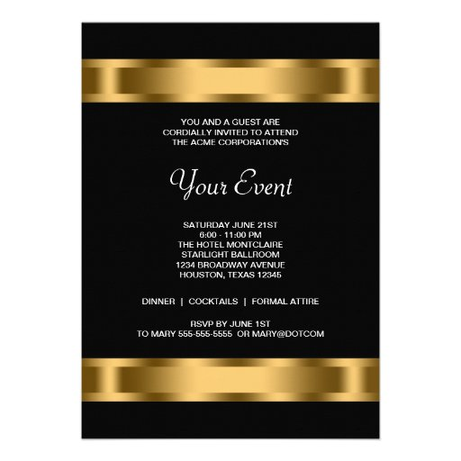 Professional event invitation template gold black corporate party event template personalized invitations stopboris Gallery