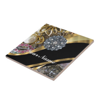 Black & gold bling ceramic tile