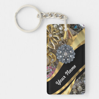 Black & gold bling key ring