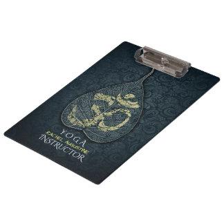 Black & Gold Bodhi Leaf OM Symbol YOGA Instructor Clipboard