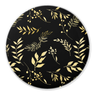 Black & Gold Botanical Glamour Glam Chic Leaves Ceramic Knob