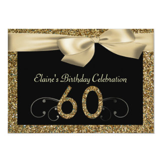 Black Gold Bow 60th Woman's Birthday Invitation