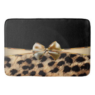 Black & Gold Bow Leopard Cheetah Animal Print Bath Mat