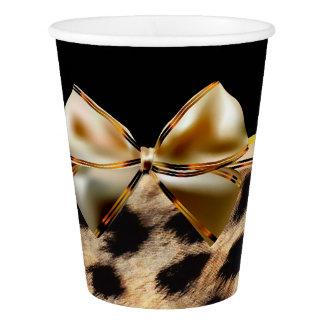 Black & Gold Bow Leopard Cheetah Animal Print Paper Cup