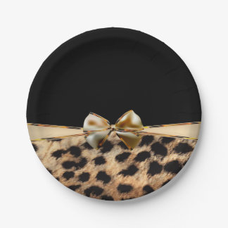Black & Gold Bow Leopard Cheetah Animal Print Paper Plate