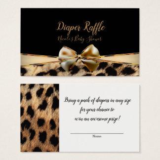 Black Gold Bow Leopard Cheetah Baby Shower Raffle Business Card