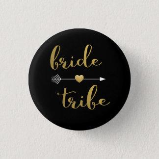 Black & Gold Bride Tribe Bridesmaid Button