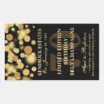 Black Gold Champagne Bubbles Birthday Label 750ml Rectangular Sticker