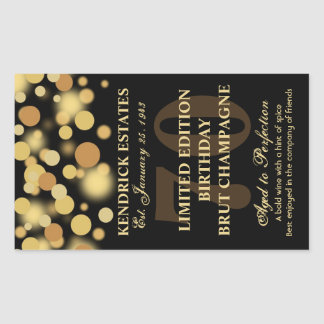 Black Gold Champagne Bubbles Birthday Label 750ml Rectangular Sticker