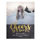 Black & Gold Cheers New Year Script Greeting Photo Postcard