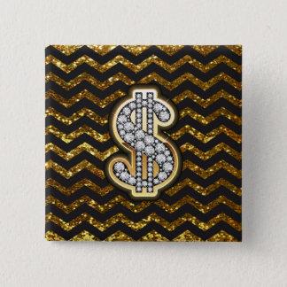 Black & Gold Chevron Diamond & Gold Dollar Sign 15 Cm Square Badge