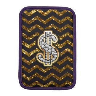 Black & Gold Chevron Diamond & Gold Dollar Sign Sleeve For iPad Mini