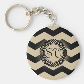 Black & Gold Chevron Monogram Key Ring