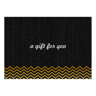 Black Gold Chevron Salon and Spa Gift Certificate Pack Of Chubby Business Cards