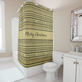 Black/Gold Christmas Picture Font Pattern Shower Curtain