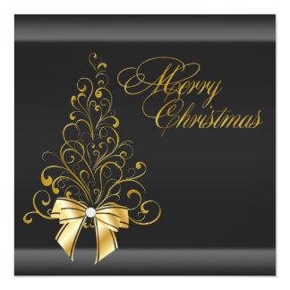 "Black Gold Christmas Tree Christmas Party 5.25"" Square Invitation Card"
