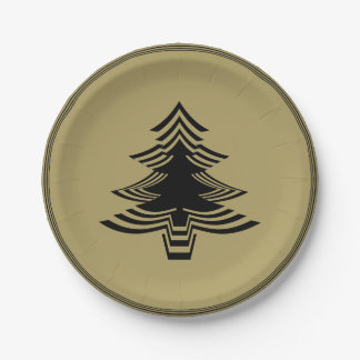 Black/Gold Christmas Tree Font Geometric Pattern Paper Plate