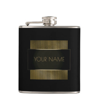 Black Gold Conceptual Minimal Name Geometry Hip Flask