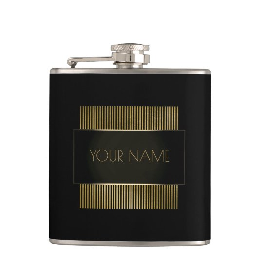 Black Gold Conceptual Minimal Name Geometry Hip Flask