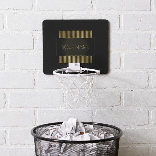 Black Gold Conceptual Minimal Name Geometry Mini Basketball Hoop