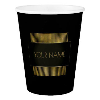 Black Gold Conceptual Minimal Name Geometry Paper Cup