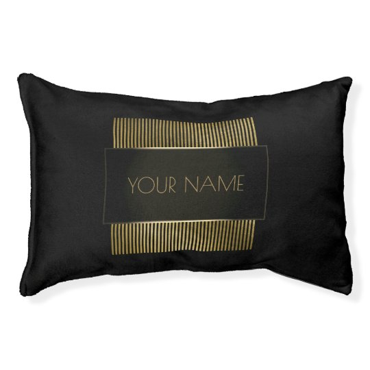 Black Gold Conceptual Minimal Name Geometry Pet Bed
