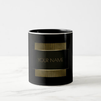 Black Gold Conceptual Minimal Name Geometry Two-Tone Coffee Mug