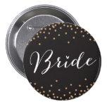 Black & Gold Confetti Dot Bride Button