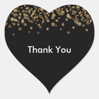 Black Gold Confetti Glam Glitter Heart Sticker