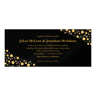 Black & Gold Confetti Wedding Party Card