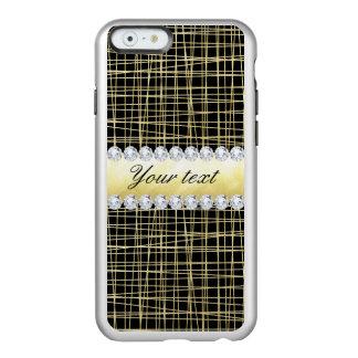 Black Gold Criss Cross Lines and Diamonds Incipio Feather® Shine iPhone 6 Case