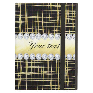 Black Gold Criss Cross Lines and Diamonds iPad Air Case