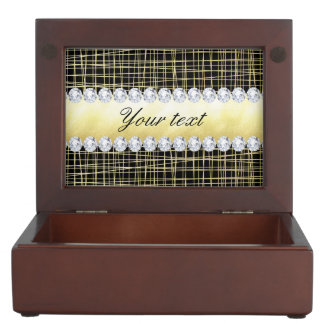Black Gold Criss Cross Lines and Diamonds Keepsake Box