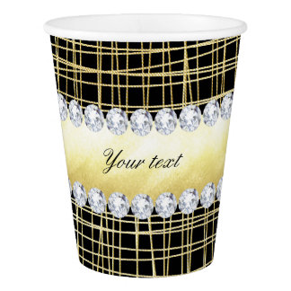 Black Gold Criss Cross Lines and Diamonds Paper Cup