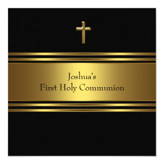 Black Gold Cross Boys First Communion 13 Cm X 13 Cm Square Invitation Card