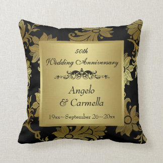 Black, Gold Damask 50th Anniversary Pillow