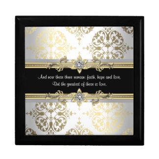 Black Gold Damask Bible Verse Large Square Gift Box