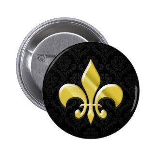 Black/Gold Damask Fleur de Lis Pins