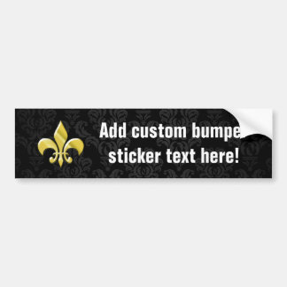 Black/Gold Damask Fleur de Lis Bumper Sticker